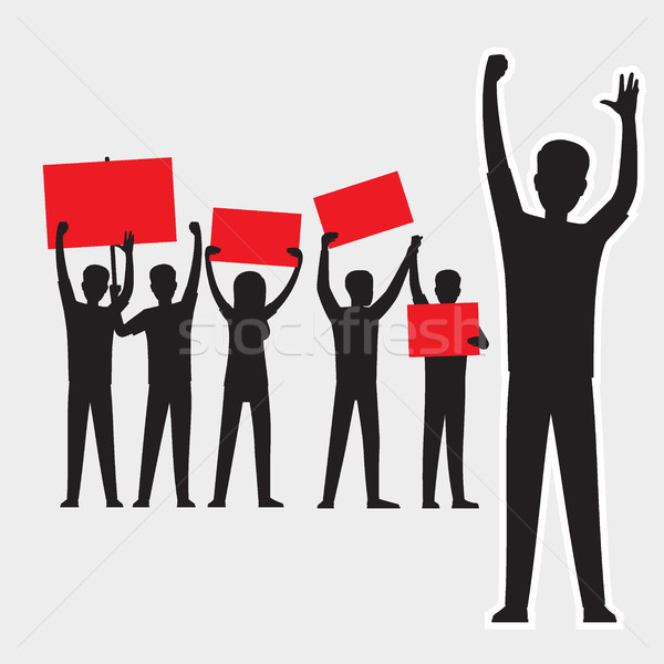Protesters Silhouettes with Red Streamers Set Stock photo © robuart