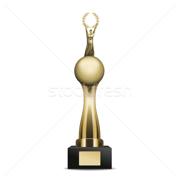 Golden Trophy Cup with Laurel Wreath and Human Stock photo © robuart