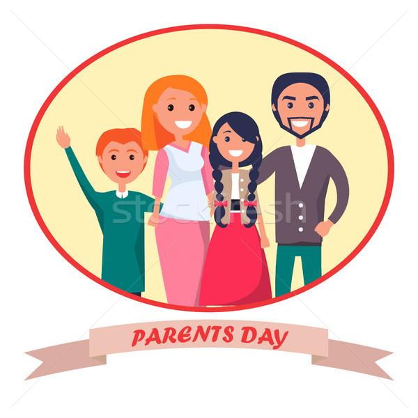 Cartaz devotado pais dia celebração família Foto stock © robuart