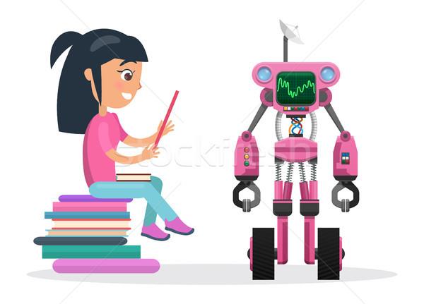 Meisje blouse zitten boeken naast Stockfoto © robuart