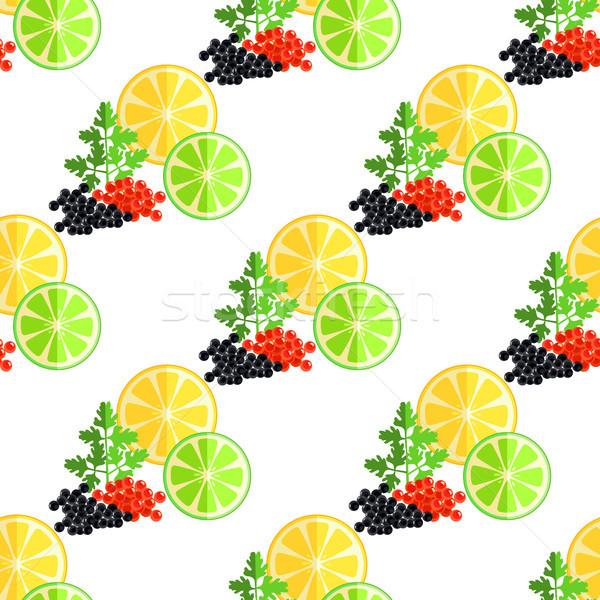 Cítrico frutas verde salsa caviar padrão Foto stock © robuart