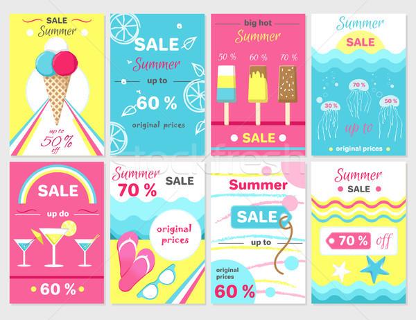 Nyár vásár felfelé promóciós plakátok szett Stock fotó © robuart