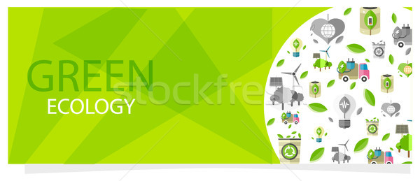 Green Ecology Flyer with Circle Full of Eco Icons Stock photo © robuart