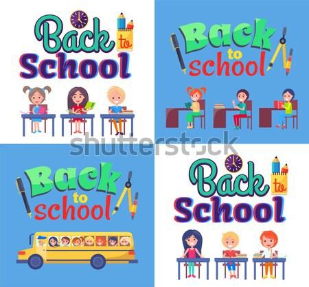 Снова в школу плакат дети канцтовары объекты Сток-фото © robuart