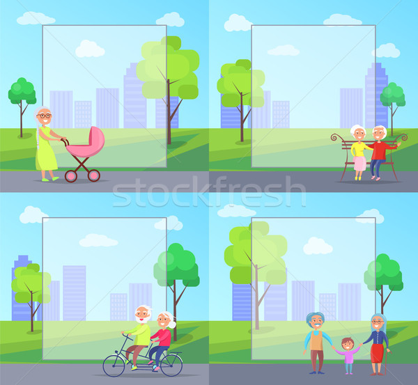 Set of Illustrations with Grandparents and Kids Stock photo © robuart