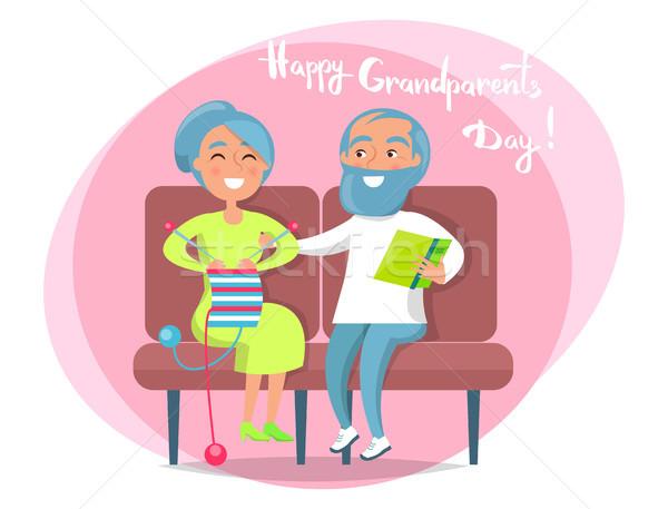 Happy Grandparents Day Senior Couple Sit Together Stock photo © robuart