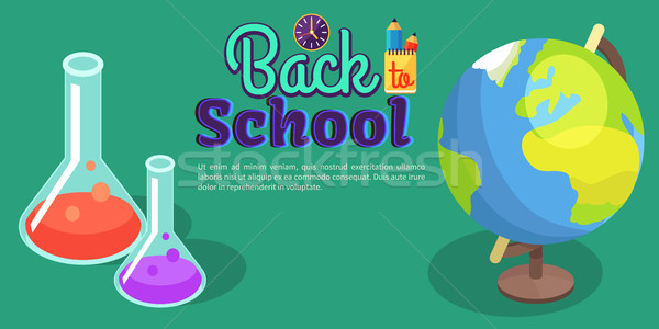 Back to School Poster with Scientific Equipment Stock photo © robuart