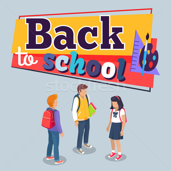 Back to School Poster with Schoolchildren Vector Stock photo © robuart