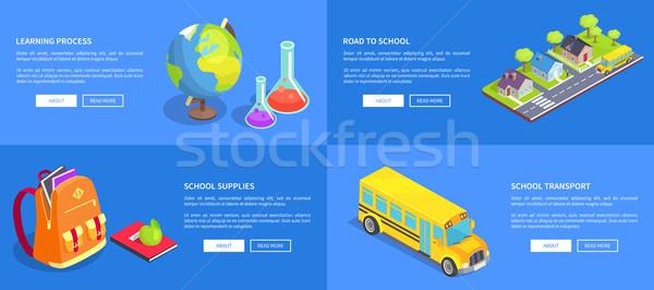 Materiały biurowe drogowego szkolny autobus nauki proces Zdjęcia stock © robuart