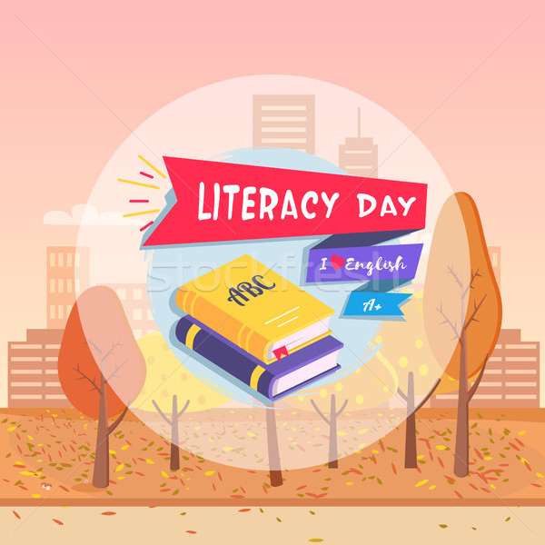Literacy Day Postcard Autumn Vector Illustration Stock photo © robuart