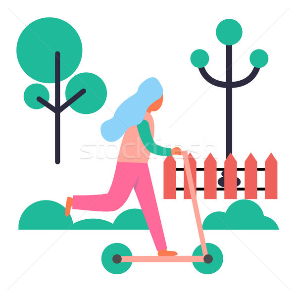 Girl Riding Push Scooter Isolated Illustration Stock photo © robuart