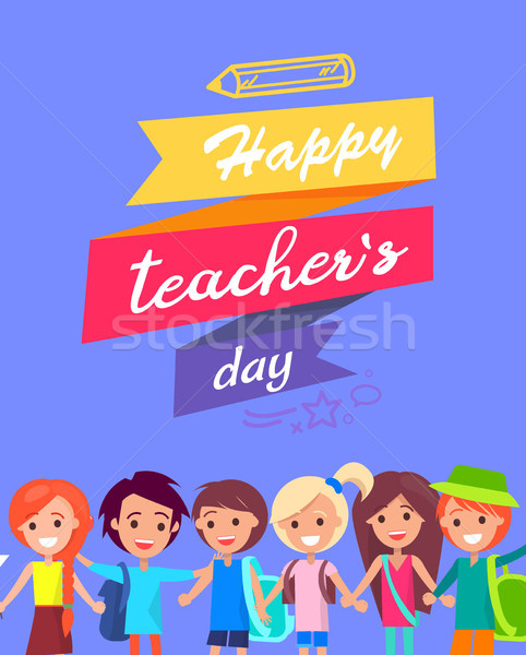 Happy Teacher s Day Congratulation Postcard Stock photo © robuart
