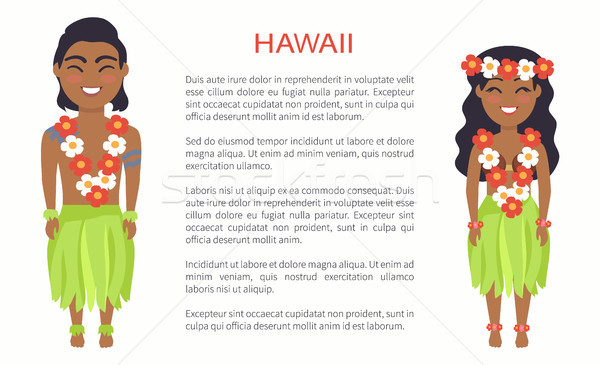 Hawaii Male and Female Image Vector Illustration Stock photo © robuart