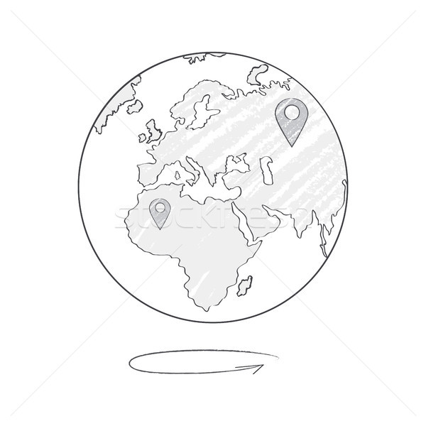 Earth Icon Sketch with Marks of Trip Destinations Stock photo © robuart