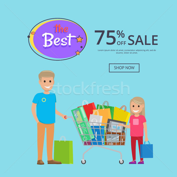 Best Sale 75 Off OnlineShopping Poster with Text Stock photo © robuart