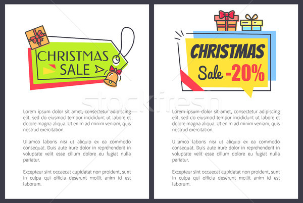 Christmas Sale -20 Off Set Vector Illustration Stock photo © robuart