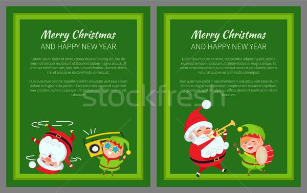 Vidám karácsony új év poszter mikulás manó Stock fotó © robuart