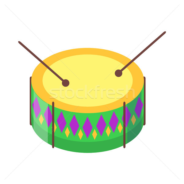 Drum with Sticks Cartoon Flat Vector Icon Stock photo © robuart