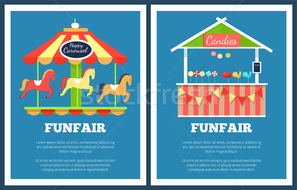 Funfair Set of Two Posters Vector Illustration Stock photo © robuart