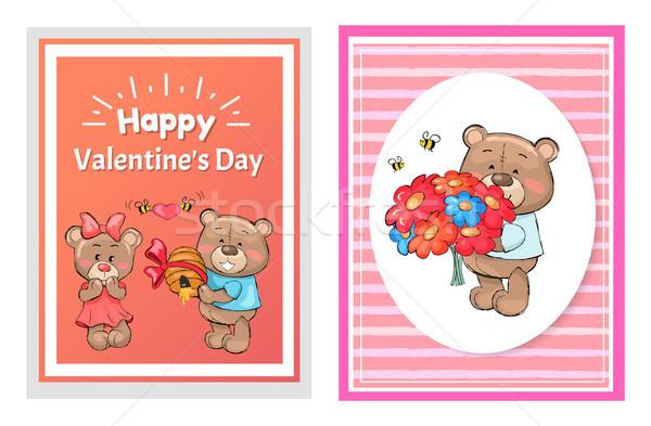 Mutlu sevgililer günü poster ayarlamak oyuncak buket Stok fotoğraf © robuart