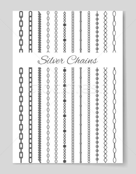 Kolekcja srebrny łańcuchy odizolowany biały owalny Zdjęcia stock © robuart
