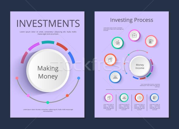 Befektetések befektetés folyamat infografika infografika plakátok Stock fotó © robuart