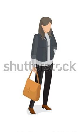 女性 グレー ジャケット 黒 ズボン ベージュ ストックフォト © robuart