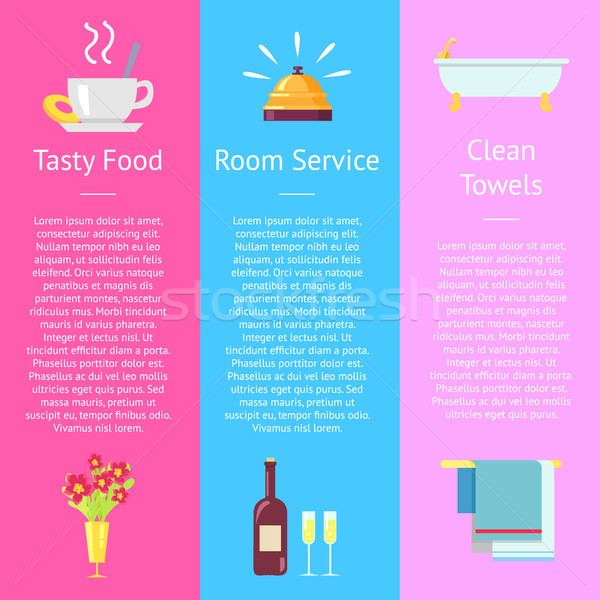 Tasty Food, Room Service and Clean Towel Posters Stock photo © robuart