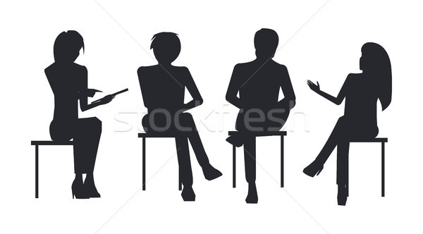 People Black Silhouettes at Business Training Sit Stock photo © robuart