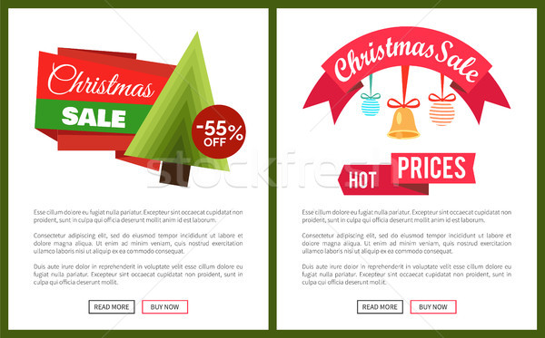 Christmas Sale Buy Now Posters Vector Illustration Stock photo © robuart