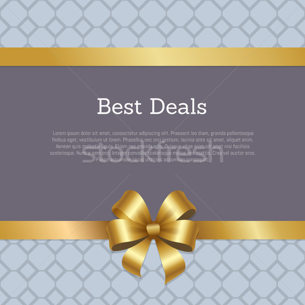 Best Deals Cover Design Golden Bow Ribbon Poster Stock photo © robuart