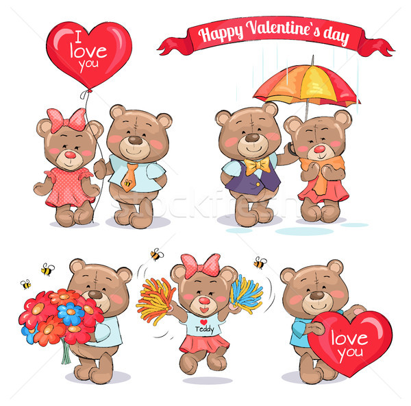 Happy Valentines Day Teddy Bears Couples in Love Stock photo © robuart