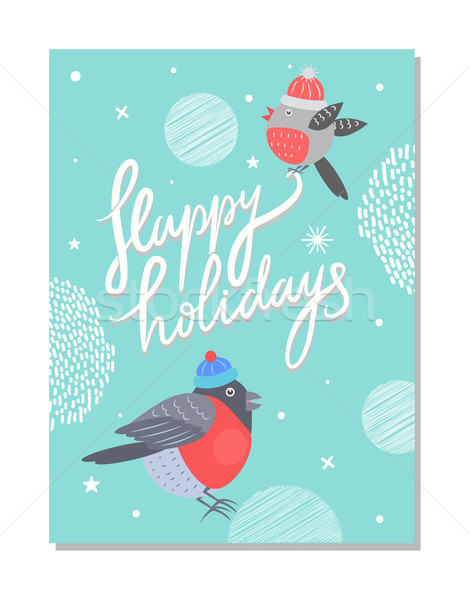 Merry Christmas and Happy Holidays 70s Postcard Stock photo © robuart
