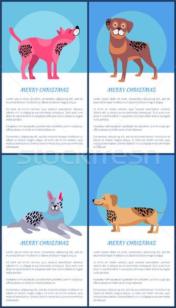 Alegre Navidad carteles establecer perros rosa Foto stock © robuart