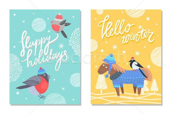 Wesoły christmas szczęśliwy wakacje 70 pocztówkę Zdjęcia stock © robuart