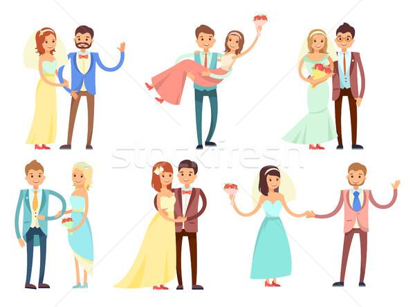 Stockfoto: Bruiloft · feestelijk · suits · ingesteld · gelukkig