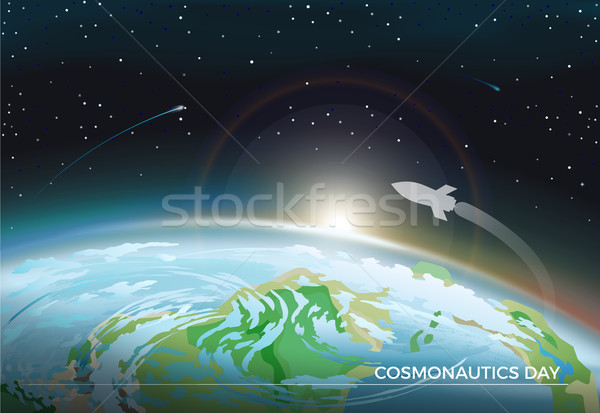 Cosmonautics Day Space Poster Vector Illustration Stock photo © robuart