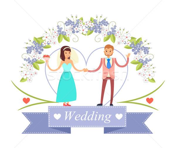 Wedding Dancing Bride, Groom Vector Illustration Stock photo © robuart