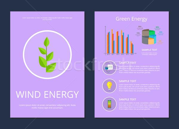 Stockfoto: Wind · groene · energie · ingesteld · posters · plant · tekst