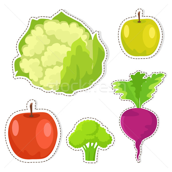 Ripe Fruits and Vegetables Vector Stickers Set Stock photo © robuart