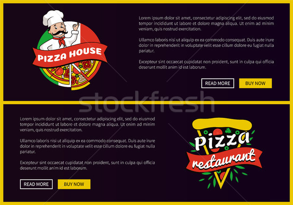 Pizza House and Restaurant Promotional Banners Set Stock photo © robuart