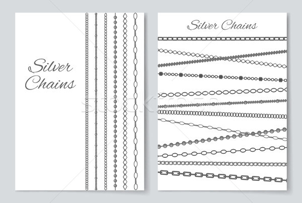Silver Chains Cover Collection Vector Illustration Stock photo © robuart