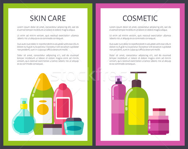 Two Cosmetic Skin Care Banners Vector Illustration Stock photo © robuart