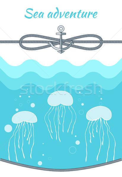 Sea Adventure Blue Poster Vector Illustration Stock photo © robuart
