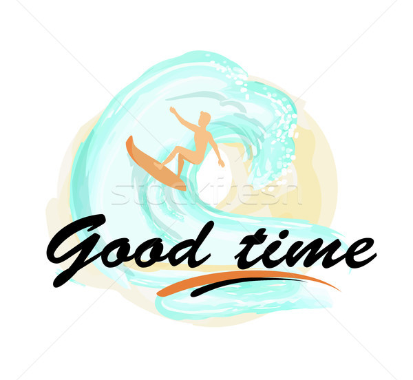 Good Time Background with Man on Surfboard Surfing Stock photo © robuart