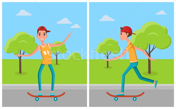 Skateboarding Set Cartoon Characters Skateboarders Stock photo © robuart