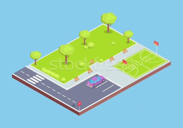 Parku parking sportowe dziedzinie ilustracja mały Zdjęcia stock © robuart