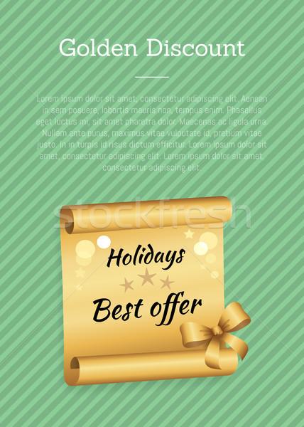Golden Discount Green Poster Vector Illustration Stock photo © robuart