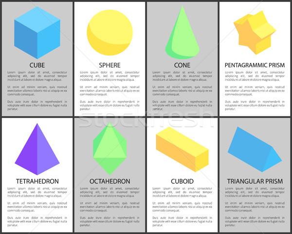 Cube Sphere Cone Cuboid Tetrahedron Prisms Set Stock photo © robuart