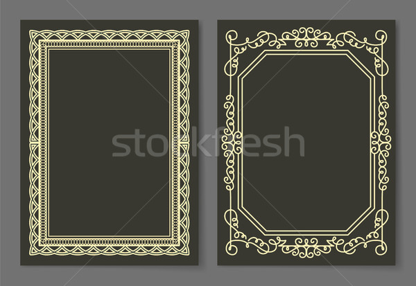 Stock photo: Collection Frames Golden Color Isolated on Black
